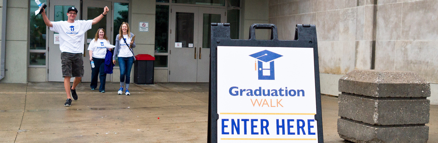 Sign that reads Graduation Walk